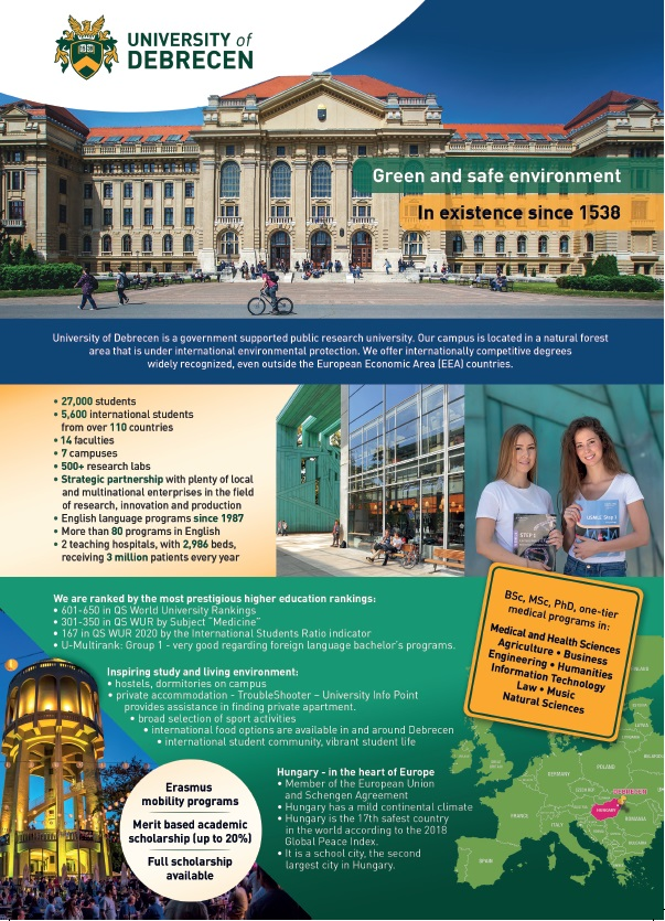 University of Debrecen main building, study in hungary medicine, dentistry business, agriculture etc...